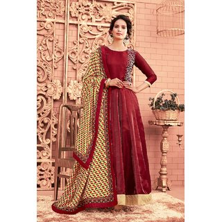 Salwar Soul Womens Designer Party Wear Trendy Mahroon Satin Silk Anarkali Salwar Suit For Girls  Womens