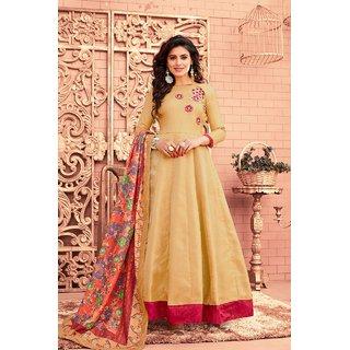 Salwar Soul Womens Designer Trendy Cream Satin Silk Anarkali Salwar Suit  Beautiful Look For Every Girls