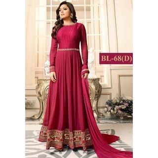 Salwar Soul Womens Beautiful Pink Prety Heavy Designer  Party Wear Anarkali Suit For Womens  Girls Free Size