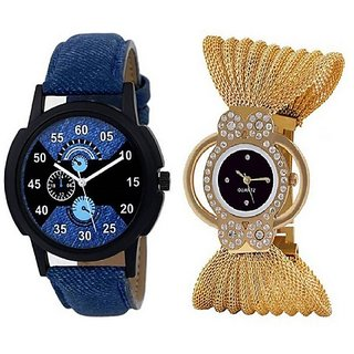 Varni Retail Blue Lorem Boys And Black Dial Julo Girls Combo Watch For Couple