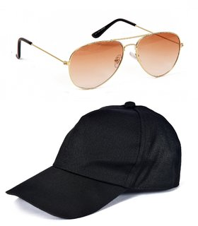 Yuvi Black Cap And Brown Shade Sunglasses Pack OF 2