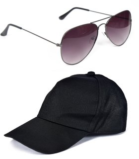 Yuvi Black Cap And Black Grey Sunglasses Pack OF 2