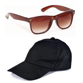 Yuvi Black Cap And Brown Wayfarer Pack OF 2