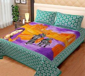 Green Rajasthani Print Bedsheet
