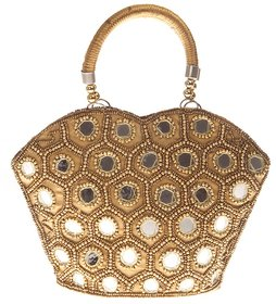 Envie Faux Leather Embellished Gold Coloured Zipper Closure Tote Bag