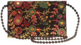 Envie Cloth/Textile/Fabric Embroidered Black  Multi Magnetic Snap Sling Bag