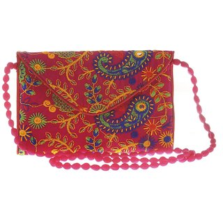 Envie Cloth/Textile/Fabric Pink  Multi Magnetic Snap Embroidered Sling Bag
