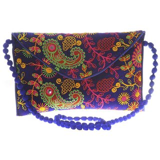 Envie Cloth/Textile/Fabric Embroidered Blue & Multi Magnetic Snap Crossbody Bag