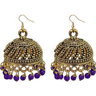 JewelMaze Purple Beads Antique Gold Plated Jhumki Earrings -1309339B