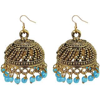JewelMaze Blue Beads Antique Gold Plated Jhumki Earrings -1309339C