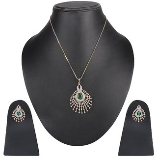 DS Multicolour American Diamond Pendant Set with Chain AND Earrings For Women(DS202)