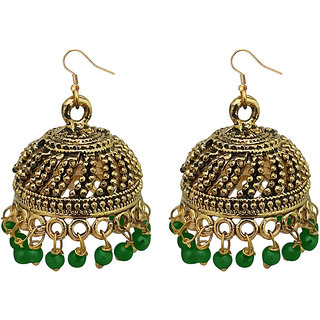 JewelMaze Green Beads Antique Gold Plated Jhumki Earrings -1309339E