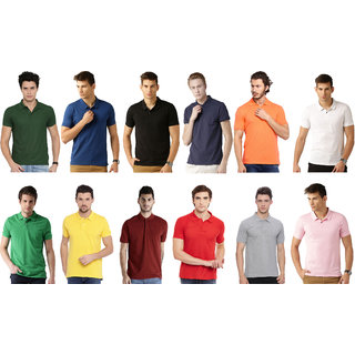 Squarefeet Multicolor Cotton Blend Polo Tshirt Pack Of 12
