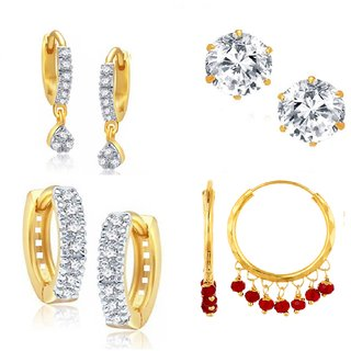 Beautiful Combo Of 4 Pair Of Earrings Includes 1 Ct. Solitaire By GoldNera