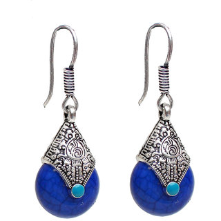 Lucky Jewellery Oxidised Black Metal Fashion Handmade Oxidized Silver Blue Stone Lightweight Hook Earrings for Girls