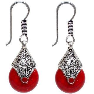 Lucky Jewellery Oxidised Black Metal Fashion Handmade Oxidized Silver Red Stone Lightweight Hook Earrings for Girls