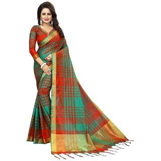 Bhuwal Fashion stylish multicolor cotton silk sari-BF5030