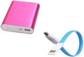 Hobins Metal Fast Charging 10400 Mah Power Bank (Pink)