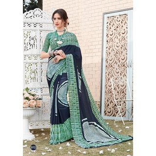 Meia Green & Blue Georgette Self Design Saree With Blouse