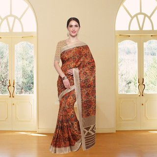 Meia Multicolor Cotton Self Design Saree With Blouse