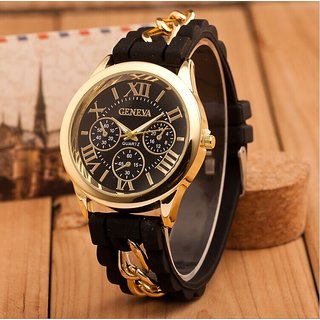 Geneva Golden HRV Case Black Dial Snake Chained Silicone Strap Analog Watch