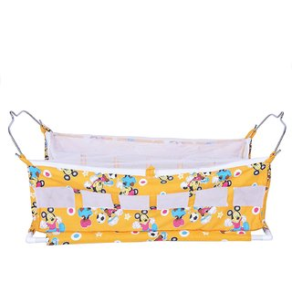 AE Flat Bed Soft Cloth Swing New Born Baby Cradle/Ghodiyu Hammock in Cool Cotton With Mosquito Net orange