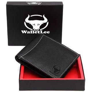 WalletLee Men Black Genuine Leather Wallet  (6 Card Slots)