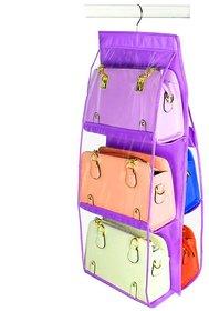 Atorakushon 6 Pocket Large Handbag Hanging Storage Bag Wardrobe Organizer Rack Hangers Holder For Storage Pouch Purple