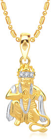 VK Jewels Mahabali Hanuman Pendant Gold and Rhodium plated -  P1399G VKP1399G