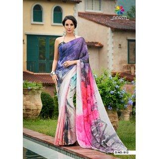 Meia Multicolor Georgette Self Design Saree With Blouse
