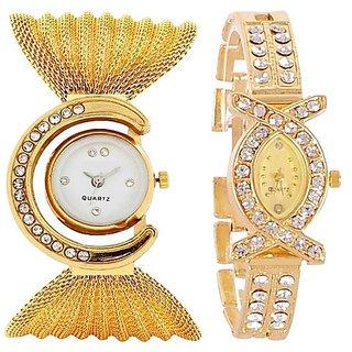 Designer Bracelet Style Diamond White Dial And AKS Girls Wrist Watch Combo For Women