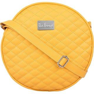 Anekaant Bulbous Yellow PU Sling Bag
