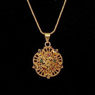 Gold Plated Pendant Set Simple Look Handmade Necklace Jewelry For Women by Beadworks