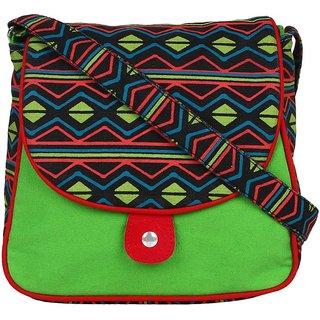 Anekaant Neon Green Canvas Sling Bag