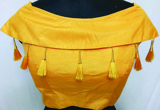 Megharaj fancy blouse with jumkha yellow color