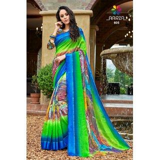 Meia Multicolor Art Silk Self Design Saree With Blouse