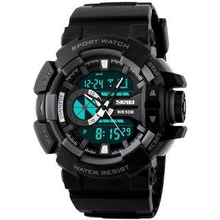Skmei Analog-Digital -1117Black GreyBlack Dial Stylist looking Sport Mens Watch