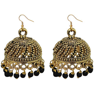 JewelMaze Black Beads Antique Gold Plated Jhumki Earrings -1309339G