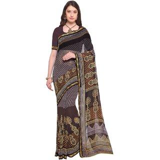 Aagaman Brown  Georgette Casual  Printed Saree
