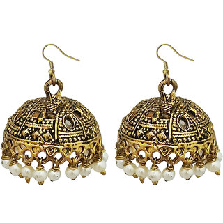 JewelMaze White Beads Antique Gold Plated Jhumki Earrings -1309340A