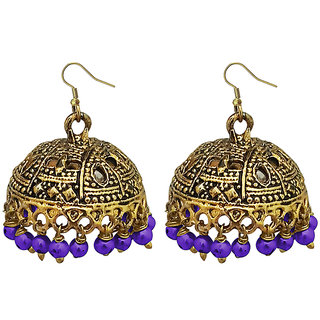 JewelMaze Purple Beads Antique Gold Plated Jhumki Earrings -1309340B
