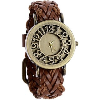 Gutheli Brown Ladies Golden Dial Analog Watches for Women