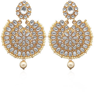 JewelMaze White Kundan Gold Plated Dangler Earrings-1312913B
