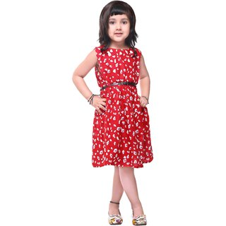 Meia for girls Hottie Red floral printed cotton frock
