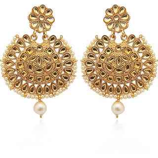 JewelMaze Brown Kundan Gold Plated Dangler Earrings-1312914A