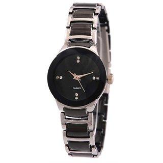 LEBENSZEIT Black Silver Blend Analog Watch - For Girls Women