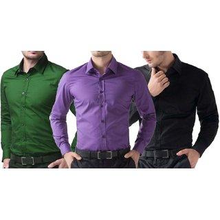 Akaas Mans Shirts Combo (Black Purple Green)