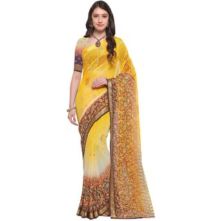 Aagaman Yellow  Georgette Casual  Printed Saree