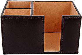 ZINT Pure Leather Coffee Color Pen Stand/Holder-cum-Paper Slip Holder Office Organizer Desk Accessory