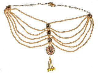 Jewels Kafe Kamar Bandh Gold Plated Belly Chain Waist Belt for Women